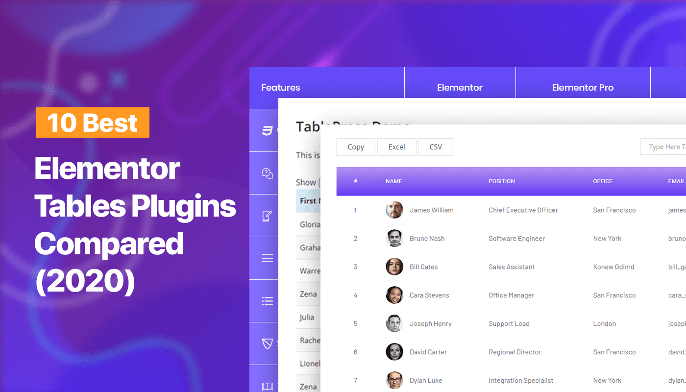 Elementor tables plugins compared