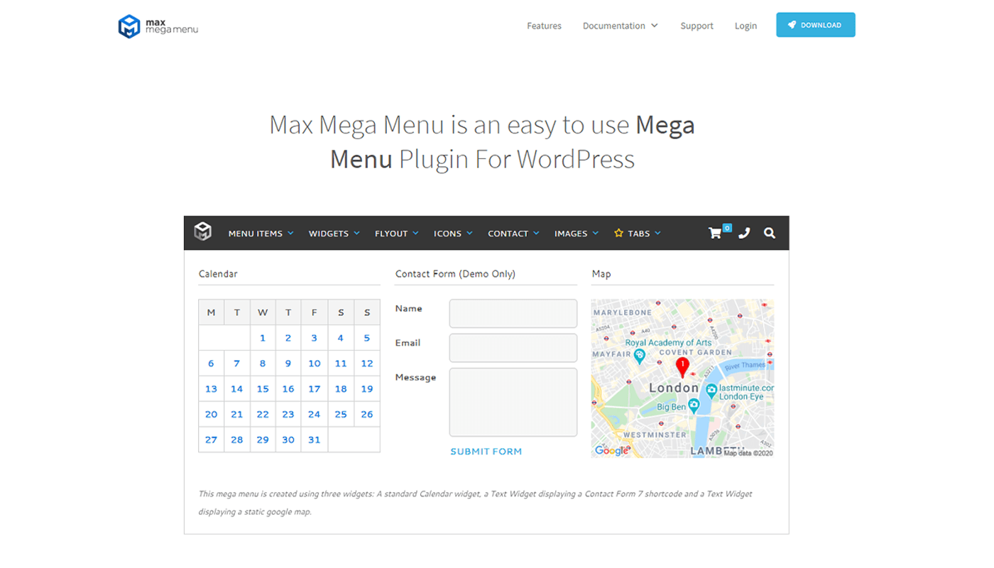 mega menu elementor