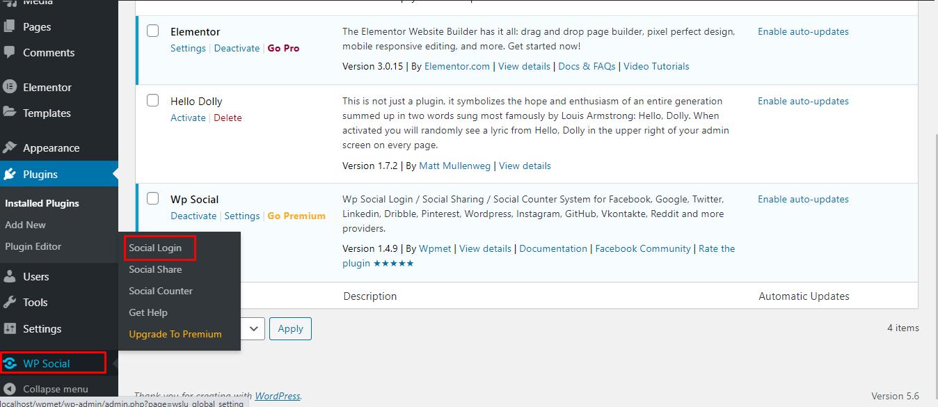 Find Social login on Wp Social