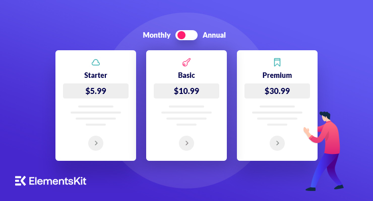 create a pricing table with elementor