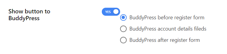 Enable show button to BuddyPress