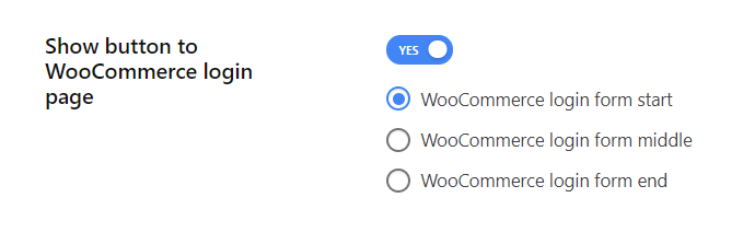 Enable show button to WooCommerce login page