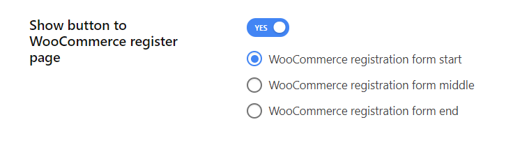 Enable show button to WooCommerce register page