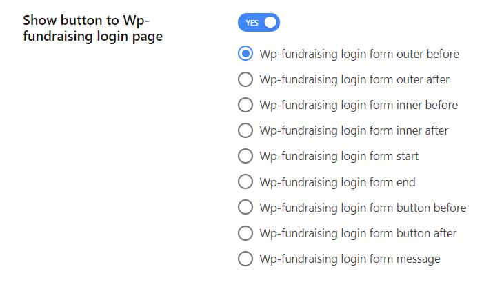 Enable show button to Wp-fundraising login page