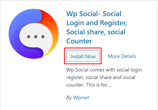 Install Wp Social by clicking on Install Now