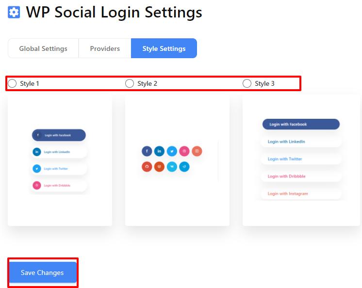 Facebook login style settings