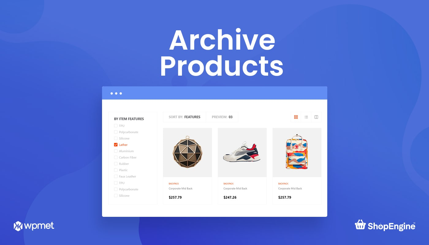 Archive Products Widgets in ShopEngine