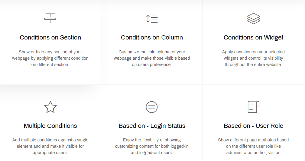 Set Conditions for Section, Column, User Role, Login Status, etc.