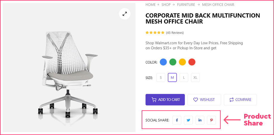 Product Share Feature of ShopEngine WooCommerce Builder