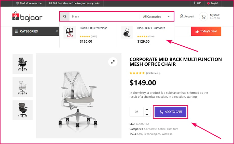 3. Flexible Add to Cart & Search View Option