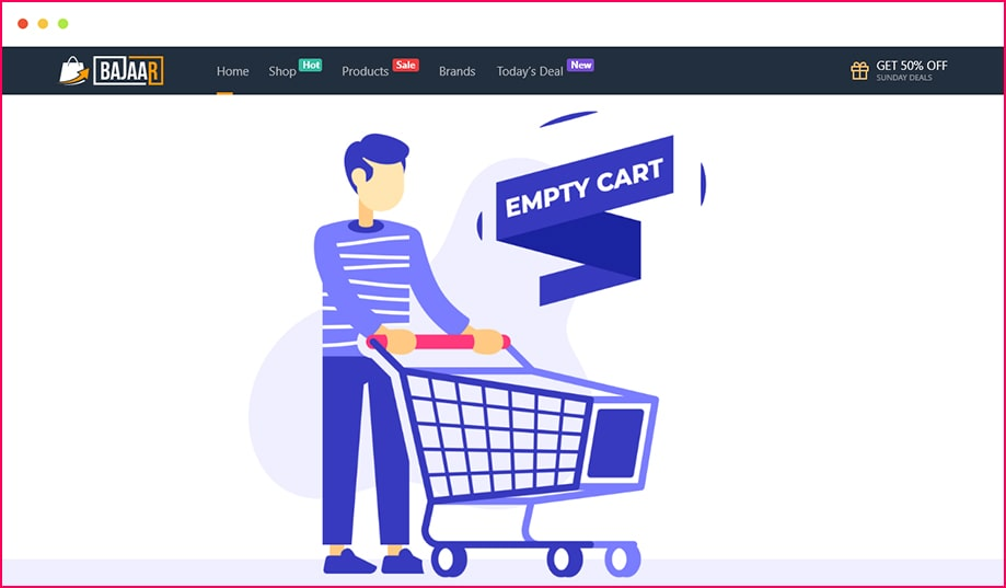 Let the Shoppers Know That There Cart is Empty