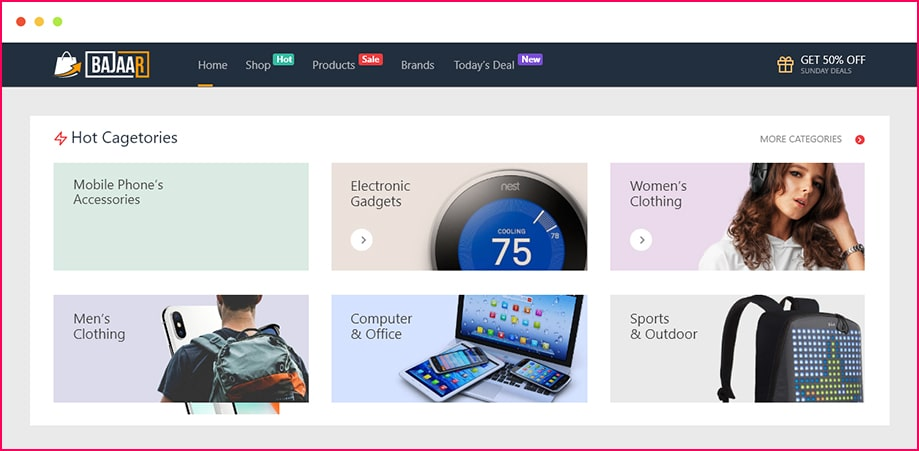 Product categories widget for WooCommerce