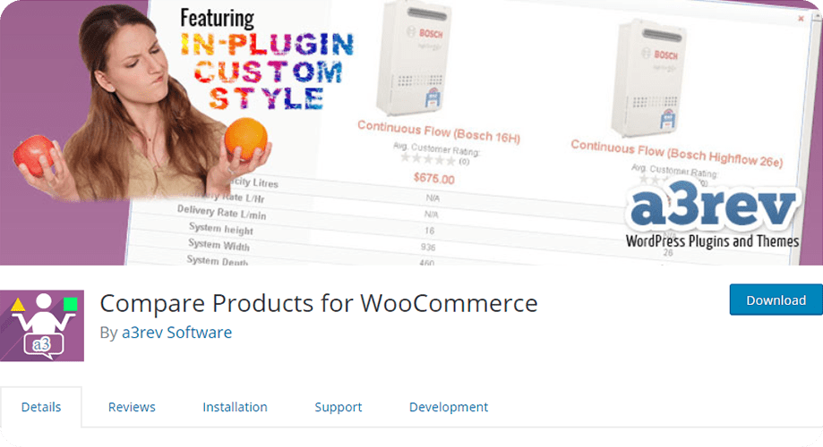Compare Products for WooCommerce for free