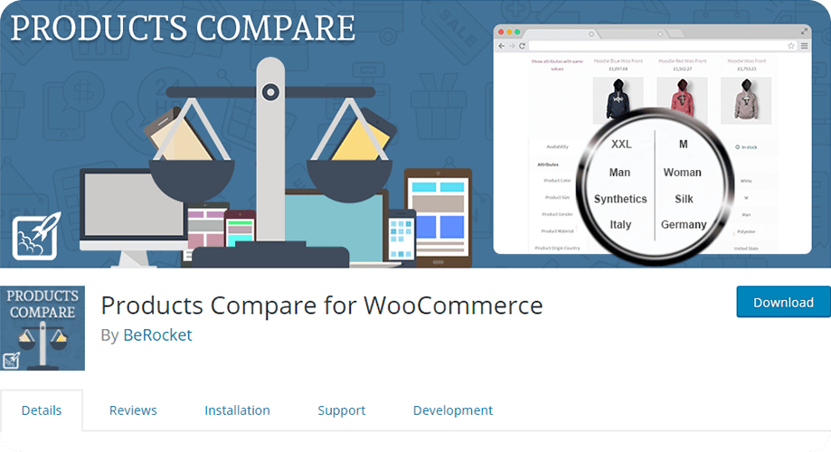 Products Compare for WooCommerce plugin to add comparison plugin