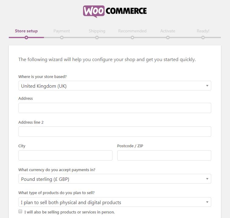 WooCommerce Setup Wizard, Store Setup