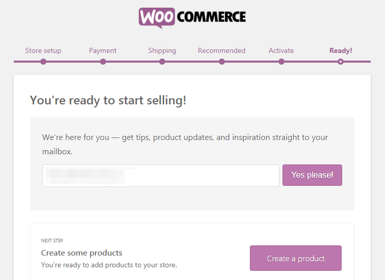 WooCommerce Setup Wizard Complete