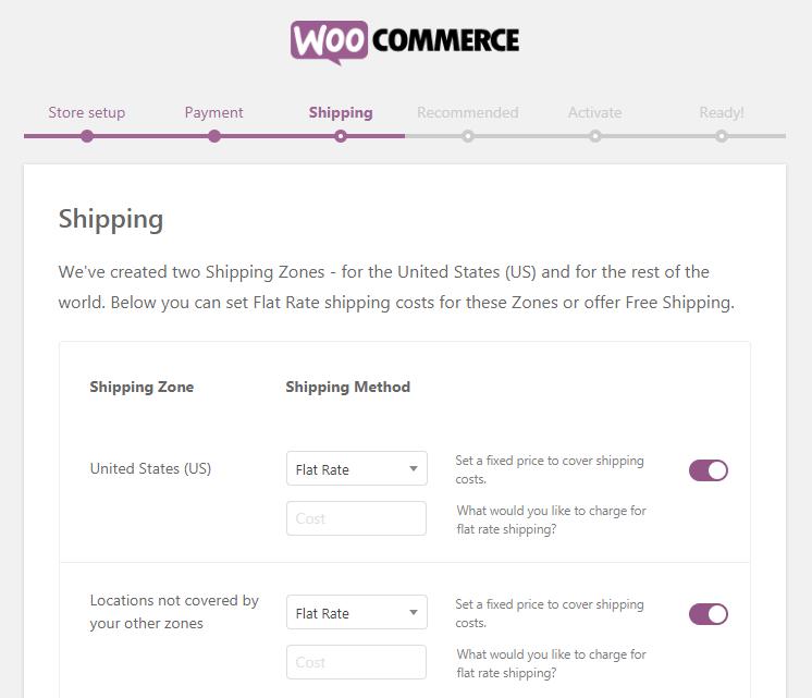 WooCommerce Setup Wizard, Shipping