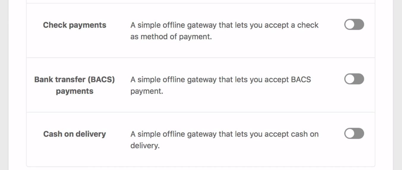 WooCommerce Setup Wizard, Offline Payment