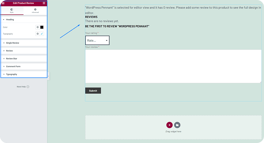 Customize the Product Review Widget