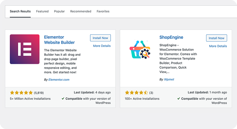 Elementor Page Builder and ShopEngine Installation Process