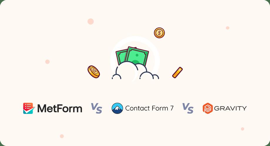 MetForm vs Contact Form 7 vs Gravity Forms Pricing