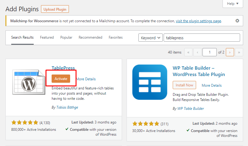 How to Activate TablePress Plugin