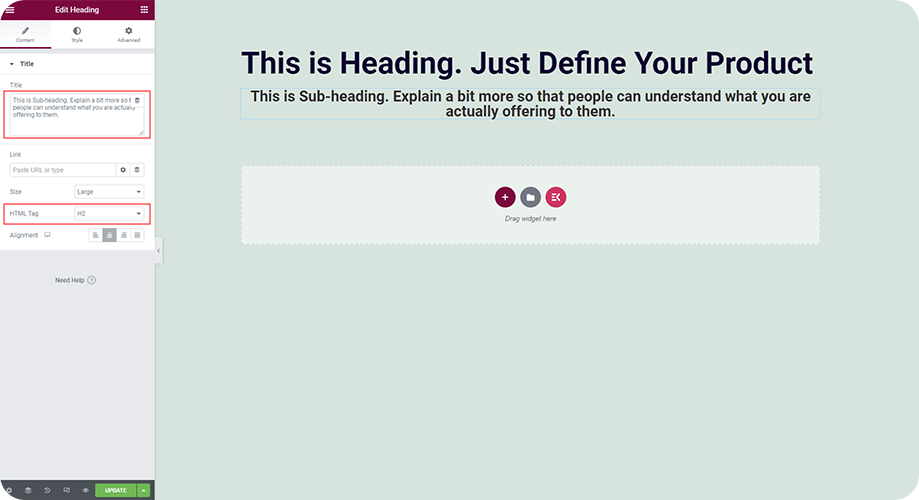 add heading to the elementor landing page