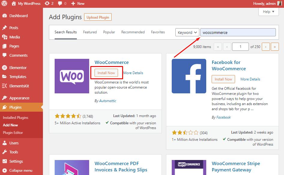 Install WooCommerce_Wpmet