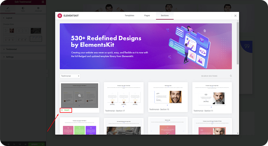 Add testimonial section to your landing page with ElementsKit