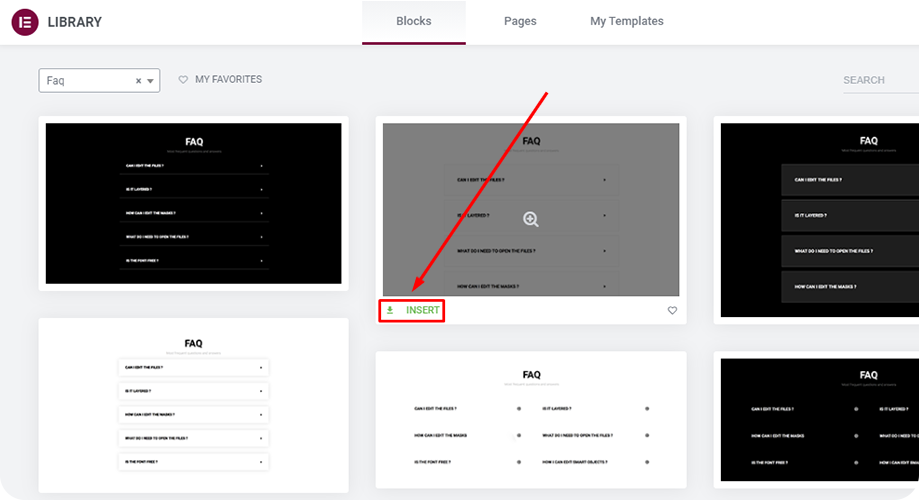 Choose your favorite FAQ block and use it for your elementor landing page