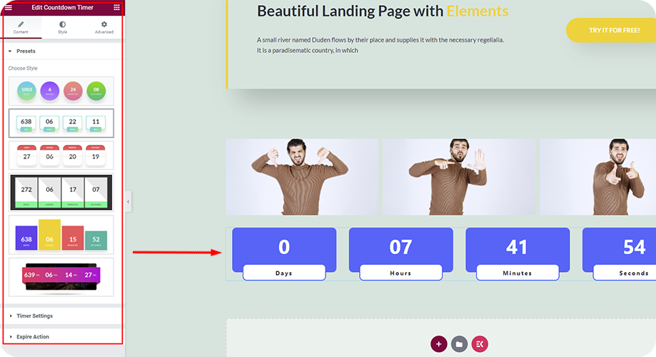Add any countdown timer you want to your landing page