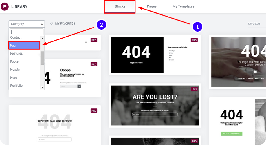 Elementor has ready-to-use FAQ blocks to use on elementor landing pages