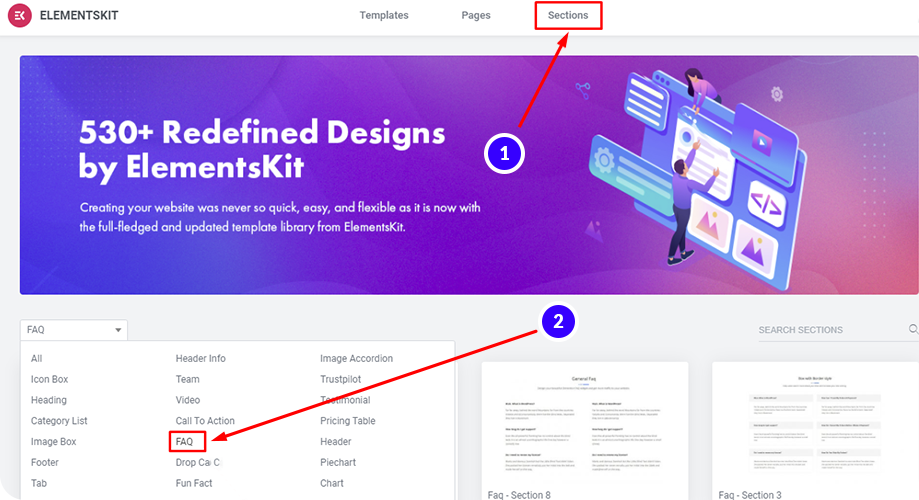 ElementsKit offers readymade FAQ block for landing pages