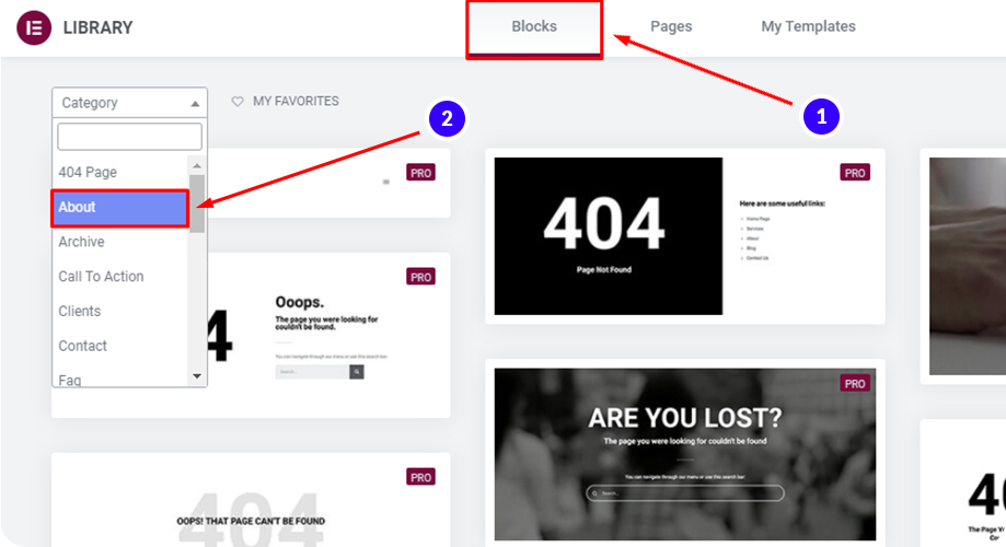 Find your preferred about block to use on your elementor landing page