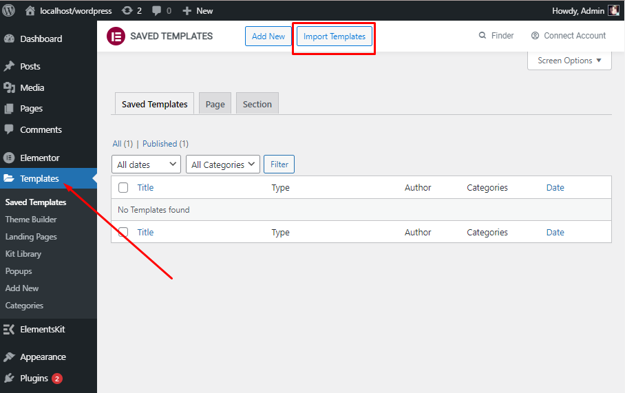 Click on Import Templates, ElementsKit