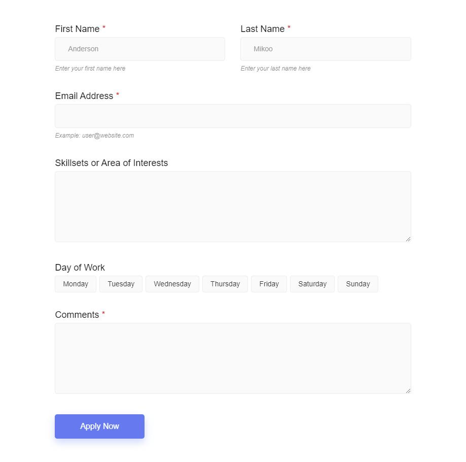 Volunteer Form by MetForm