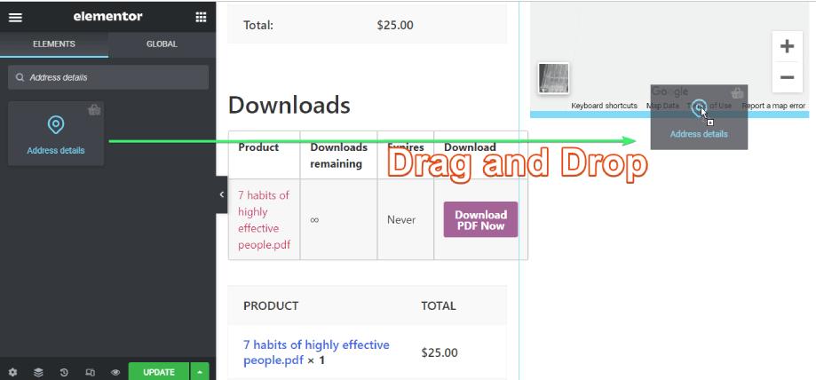 drag and drop the address details widget of shopengine on elementor