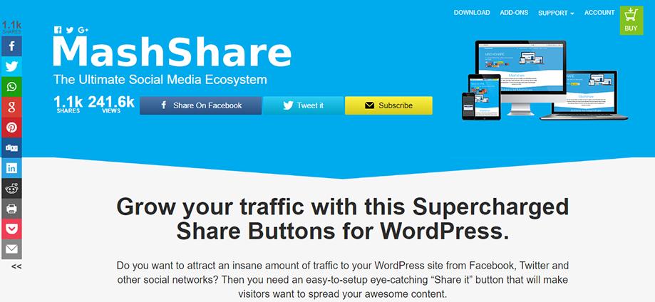 Homepage Banner of WordPress Social Media Plugin Mashshare