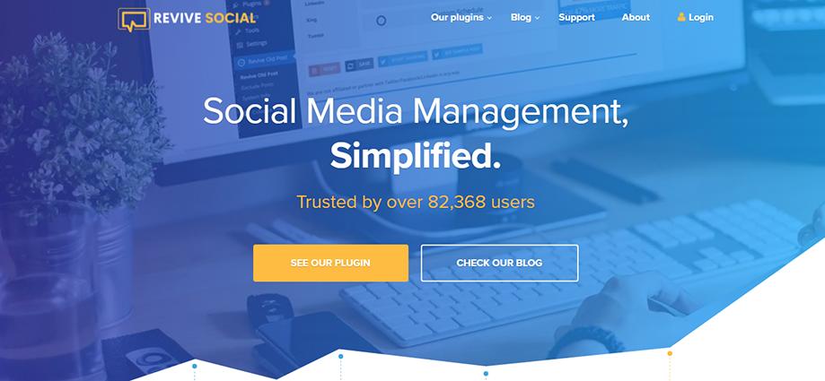 Homepage Banner of WordPress Social Media Plugin Revive Social