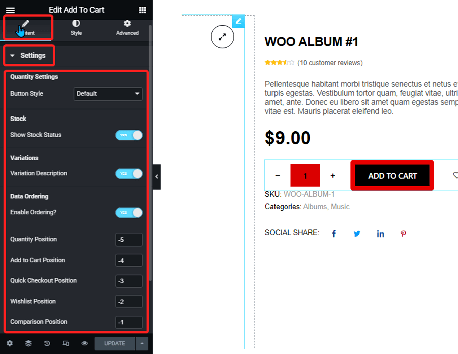 settings add to cart