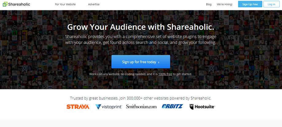 Homepage Banner of WordPress Social Media Plugin Shareaholic