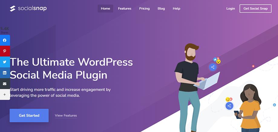 Homepage Banner of WordPress Social Media Plugin Social Snap