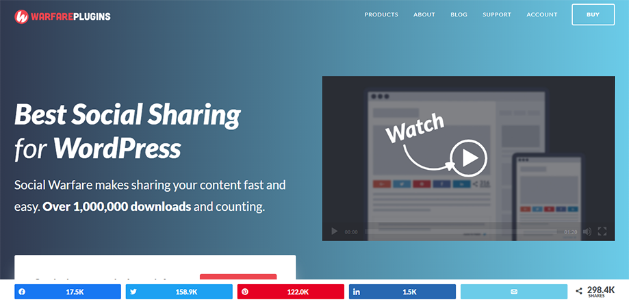 Homepage Banner of WordPress Social Media Plugin Social Warfare