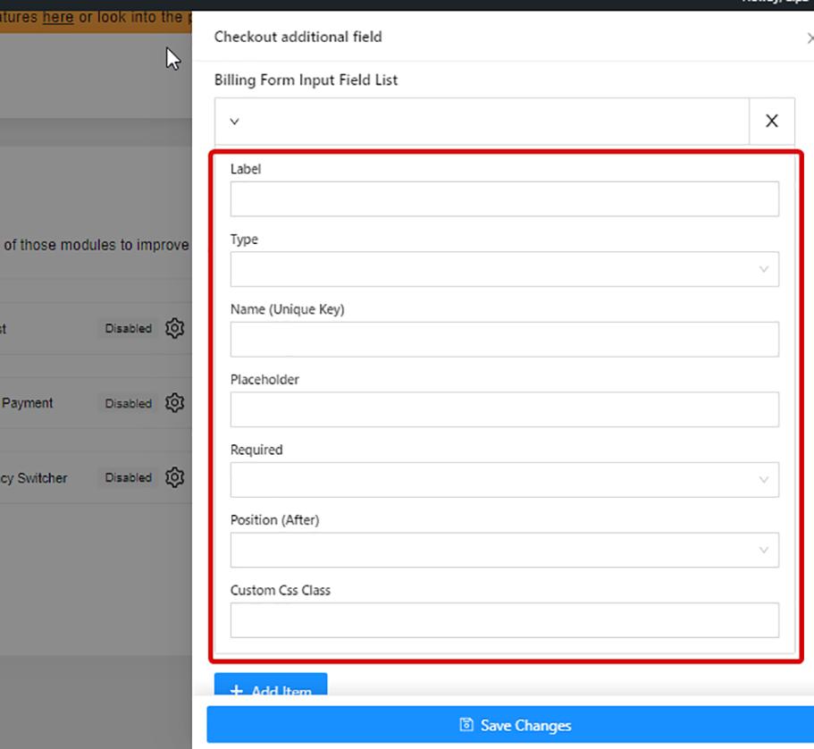 Add billing form input field list