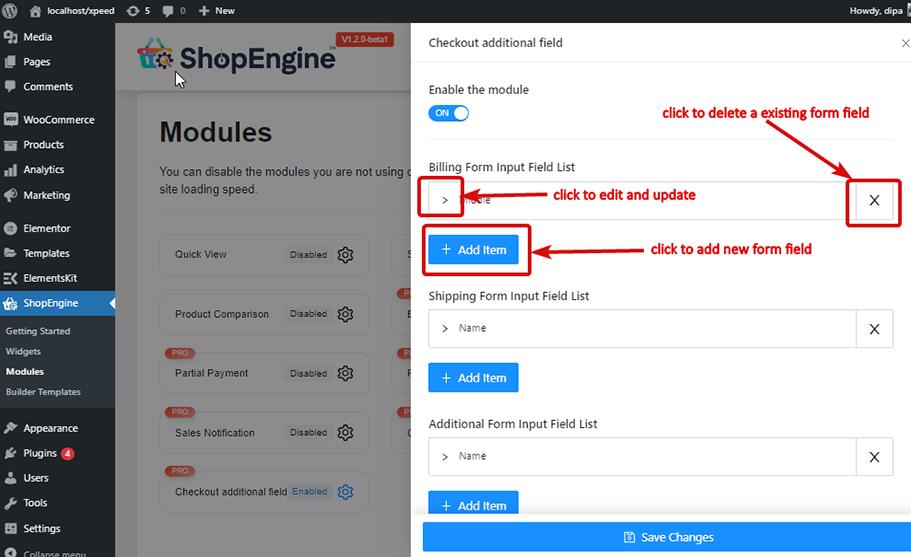 Add edit delete checkout additional field