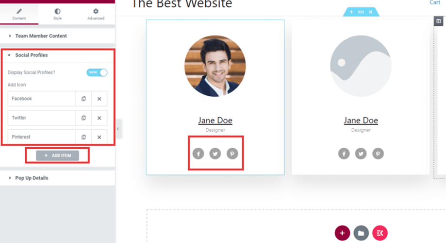 how to add new social profile in team page