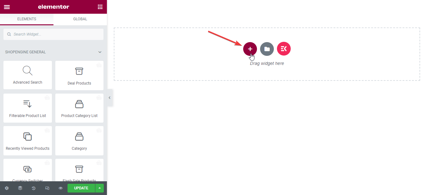 Add section archive page widget