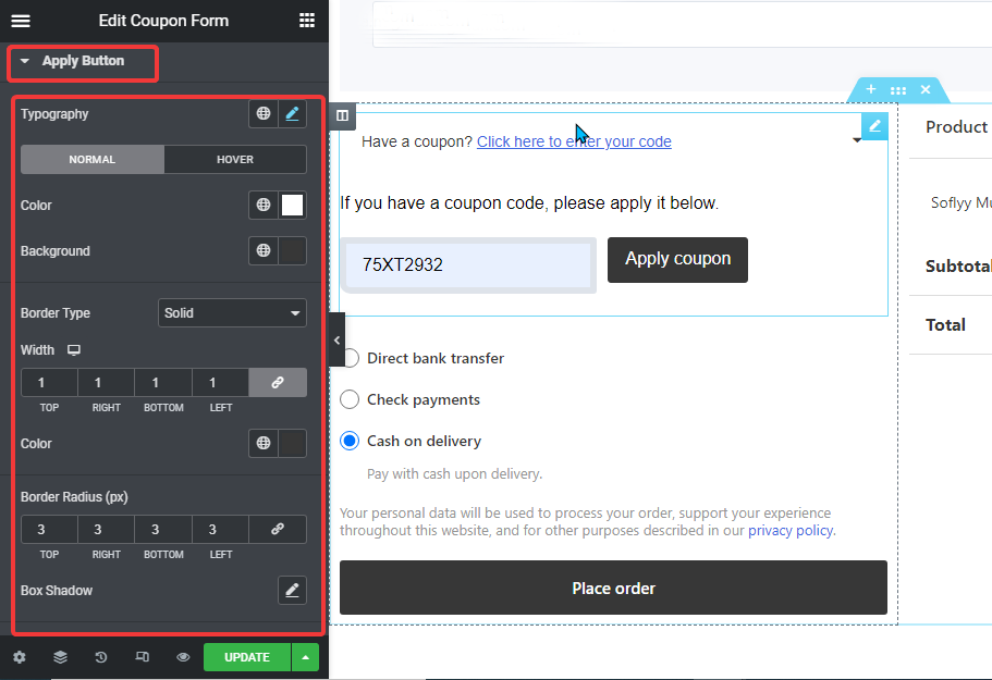 apply coupon button style settings