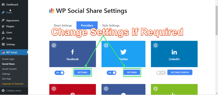 Change providers' settings if required