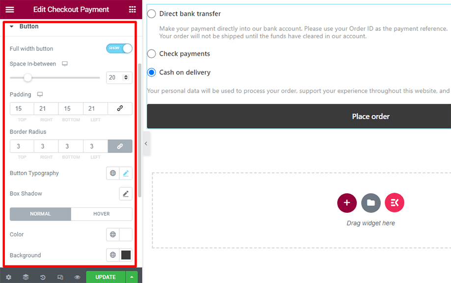 Checkout form- payment with button section
